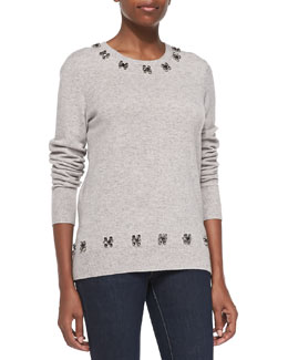 Equipment Shane Sweater w/ Embellished Neck & Hem