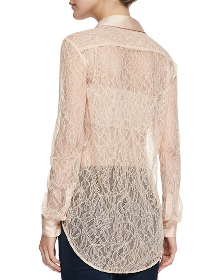 Reese Clean Long-Sleeve Lace Blouse
