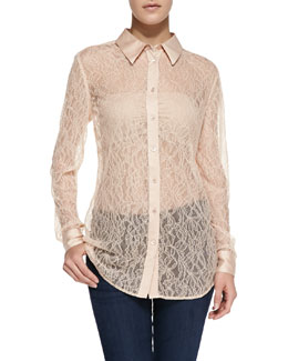 Equipment Reese Clean Long-Sleeve Lace Blouse