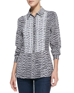 Equipment Trent Snake-Print Blouse with Contrast Bib