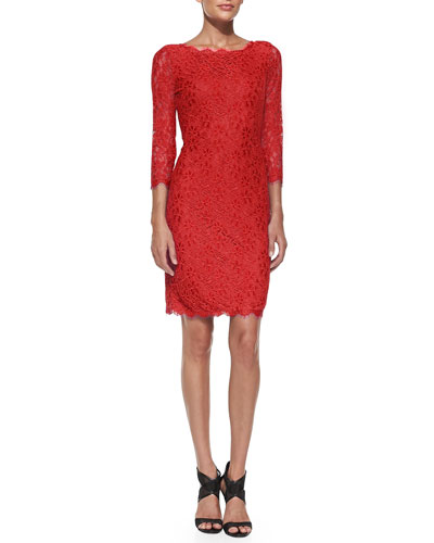 Diane von Furstenberg Zarita Boat-Neck Lace Dress