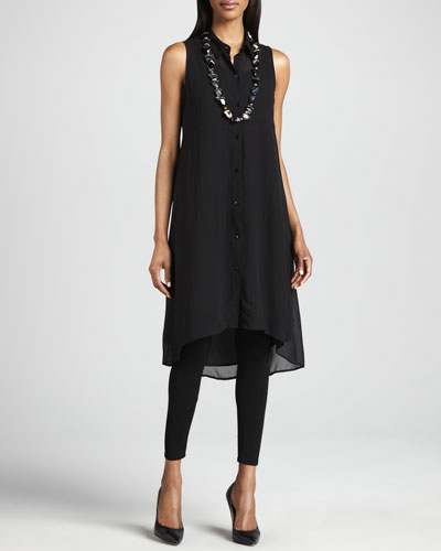 Eileen Fisher Sheer Silk Georgette Tunic/Dress