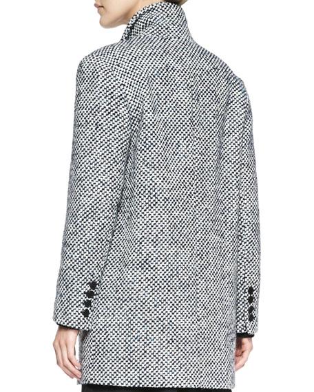 Check Tweed Long Coat