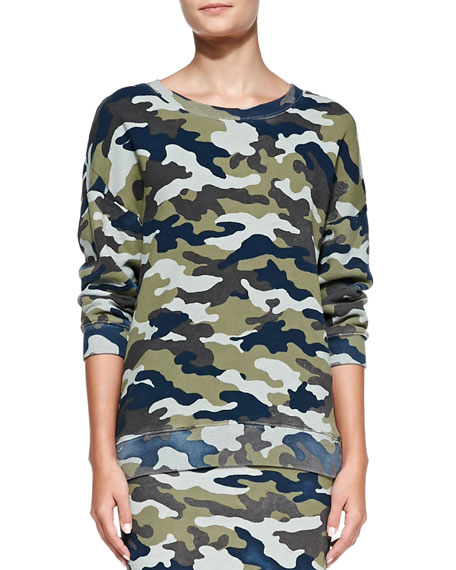 Lisa Camo-Print Knit Sweatshirt