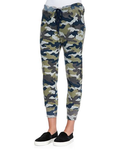 Sam Drop-Front Camo-Print Pants