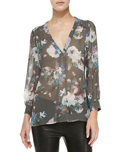 Joie Aceline Long-Sleeve Semi-Sheer Floral Top
