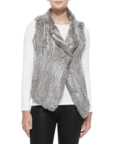 Joie Andoni Rabbit Fur Vest, Gray