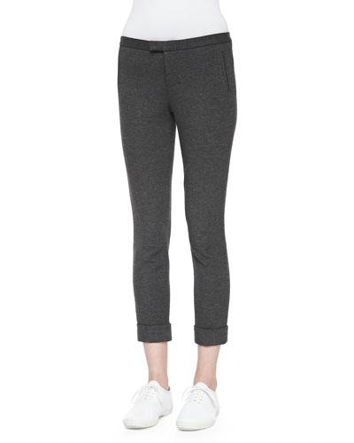 Cropped Ponte Stretch Pants