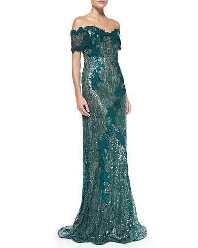 Rene Ruiz Off-the-Shoulder Lace Mermaid Gown