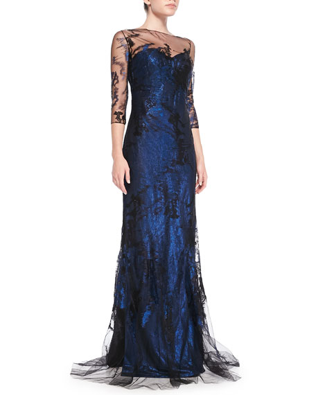 3/4-Sleeve Lace Illusion Gown