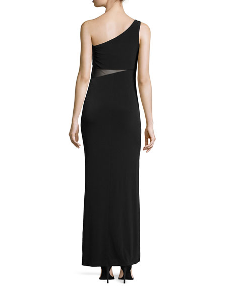 One-Shoulder Shirred Mesh-Inset Gown, Black