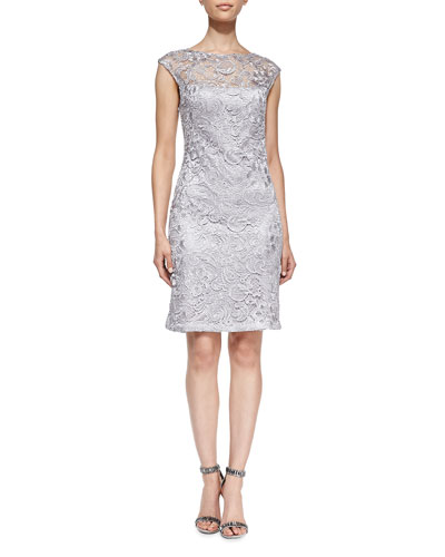 Sue Wong Cap-Sleeve Lace Overlay Cocktail Dress
