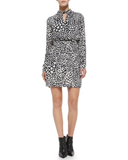 Raoul Nicola Printed Twist-Neck Long-Sleeve Dress