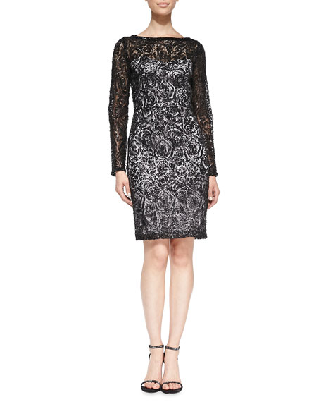 Sue Wong Long-Sleeve Lace Overlay Cocktail Dress