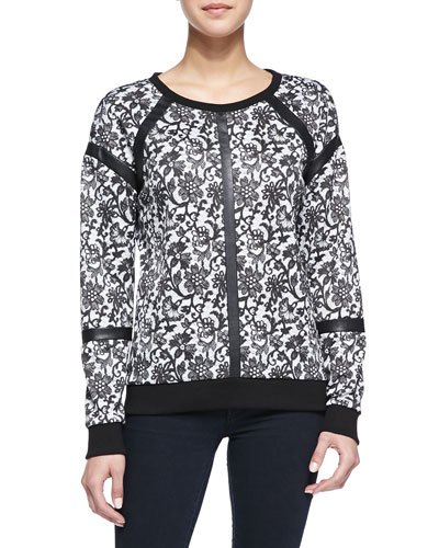 Generation Love Floral Lace-Print Faux-Leather Trimmed Combo Top, Black/White