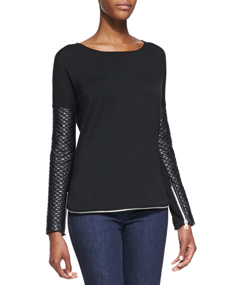 Zipper Trimmed Quilted Faux-Leather Sweatshirt, Black