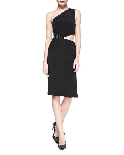 One-Shoulder Dress with Grommet Side, Black