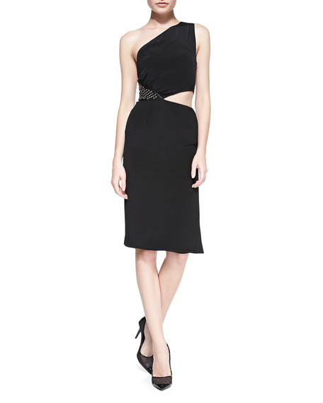 One-Shoulder Dress with Grommet Side, Black