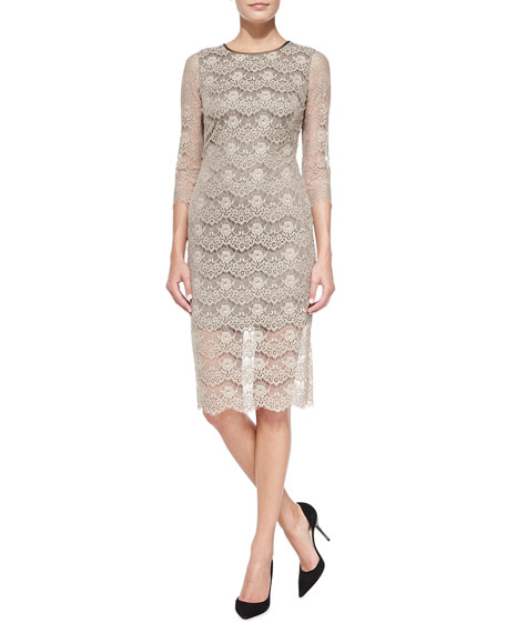 Eloise 3/4-Sleeve Lace Sheath Dress