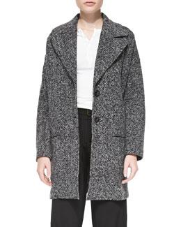 Tweedy Fleece Long Overcoat