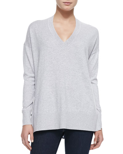 10 Crosby Derek Lam V-Neck Leopard Print-Back Sweater, Gray/Navy Leopard