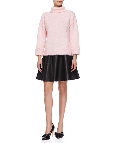 leather flare circle skirt, black