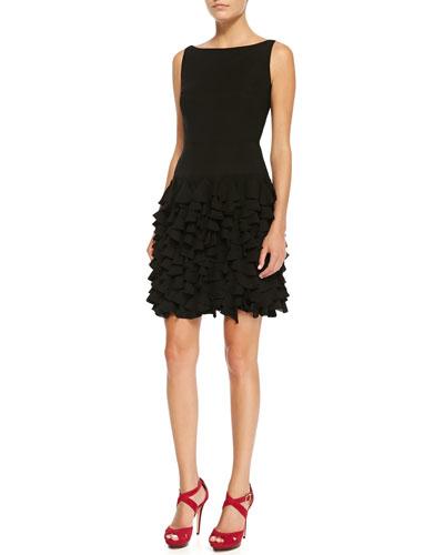 Milly Sleeveless Petal-Skirt Cocktail Dress