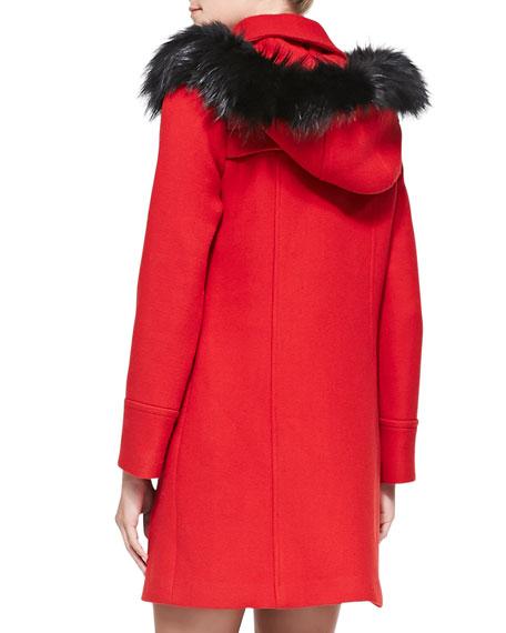 Fox Fur-Trim Duffle Coat