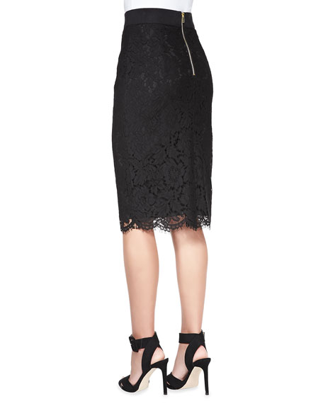 Long Floral-Lace Pencil Skirt