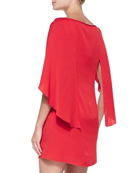 Grace Boat-Neck Cape-Sleeve Dress