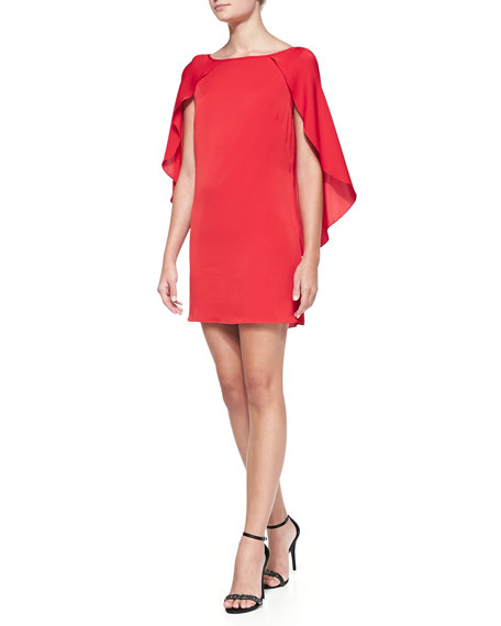 Grace Boat-Neck Cape-Sleeve Dress