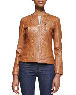 Neiman Marcus Quilted-Front Leather Jacket