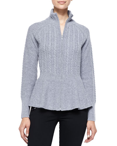 Magaschoni Peplum Cable Cashmere Cardigan