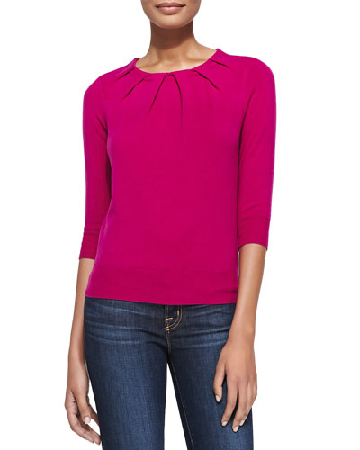 Magaschoni Pleated-Neck Cashmere Sweater