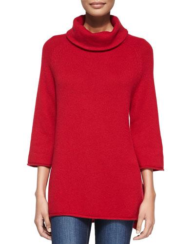 Neiman Marcus Cowl-Neck 3/4-Sleeve Sweater