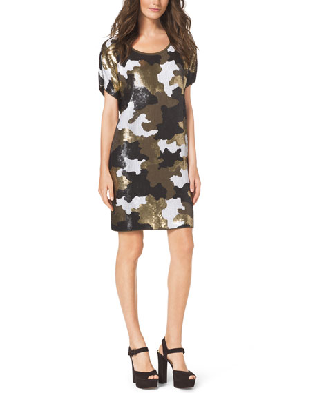 Sequined Camo-Print Dress