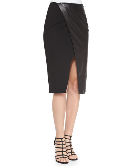 Alice + OliviaLeather/Ponte Wrap Pencil Skirt