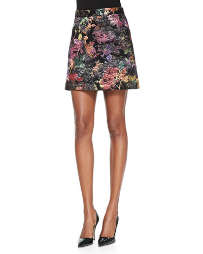 Alice + Olivia Riley Metallic Embroidered Short Skirt