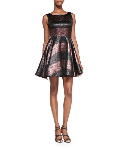 Foss Beaded Metallic Party Dress