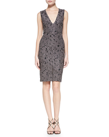 Alice + Olivia Baylee Embroidered V-Neck Fitted Dress
