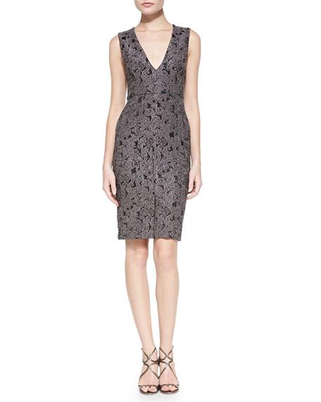 Alice + Olivia Baylee Embroidered V-Neck Fitted Dress