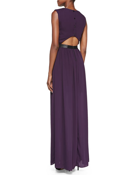 Denise Leather-Waist Jersey Maxi Dress