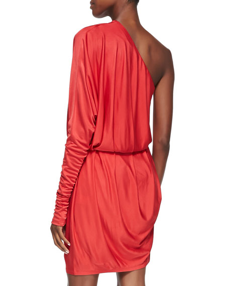 Angelina Pleated One-Shoulder Dress