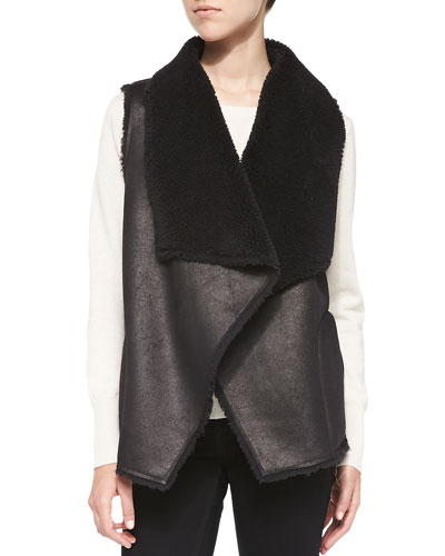 Lily Aldridge for Velvet Faux-Fur Open-Front Vest, Black