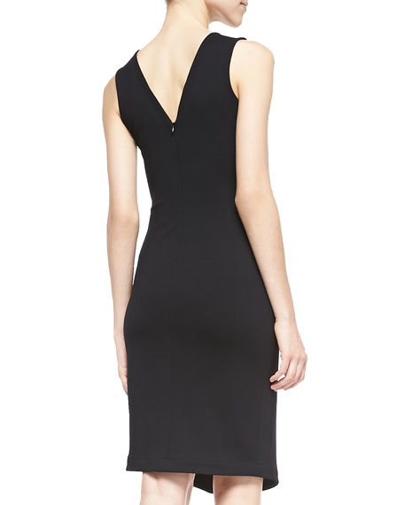 Doris Sleeveless Dress W/ Center Slit, Black