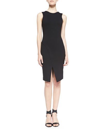 Amanda Uprichard Loves Cusp Doris Sleeveless Dress W/ Center Slit, Black