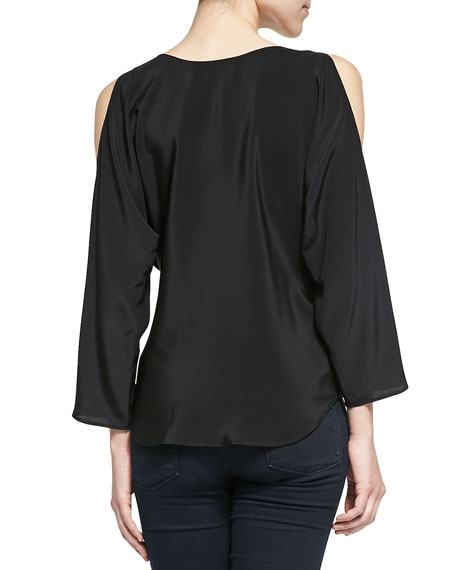 Long-Sleeve Surplice Top W/ Cold Shoulders