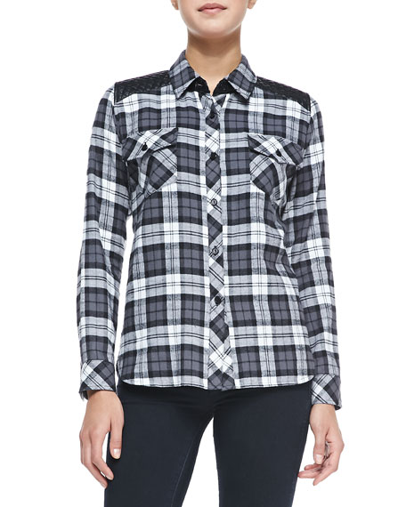 Long-Sleeve Plaid Shirt W/ Quilted Yoke