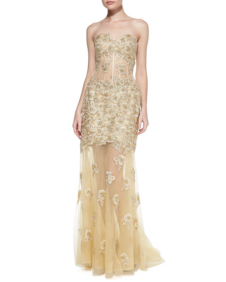Strapless Embroidered Bustier Gown
