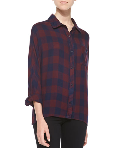Rails Maddox Two-Tone Plaid Blouse, Navy/Wine